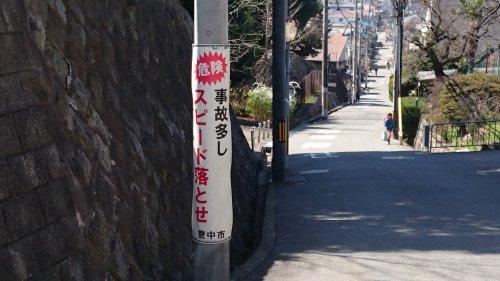 刀根山高校裏の長くて急な坂の画像
